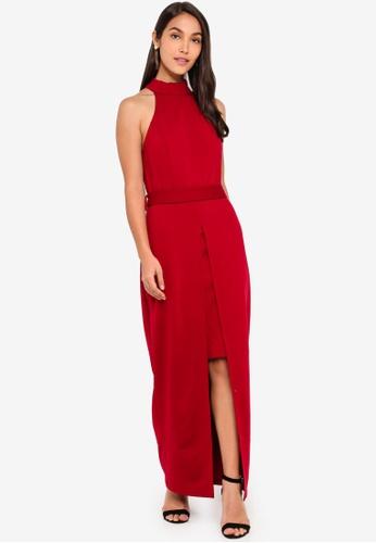 421472bef1 Shop ZALORA EVENING Halter Neck Split Detail Maxi Dress Online on ZALORA  Philippines
