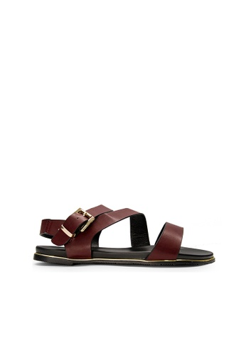SEMBONIA red SEMBONIA Synthetic Leather Flat Sandal (Maroon) 80C57SHE286CDBGS_1