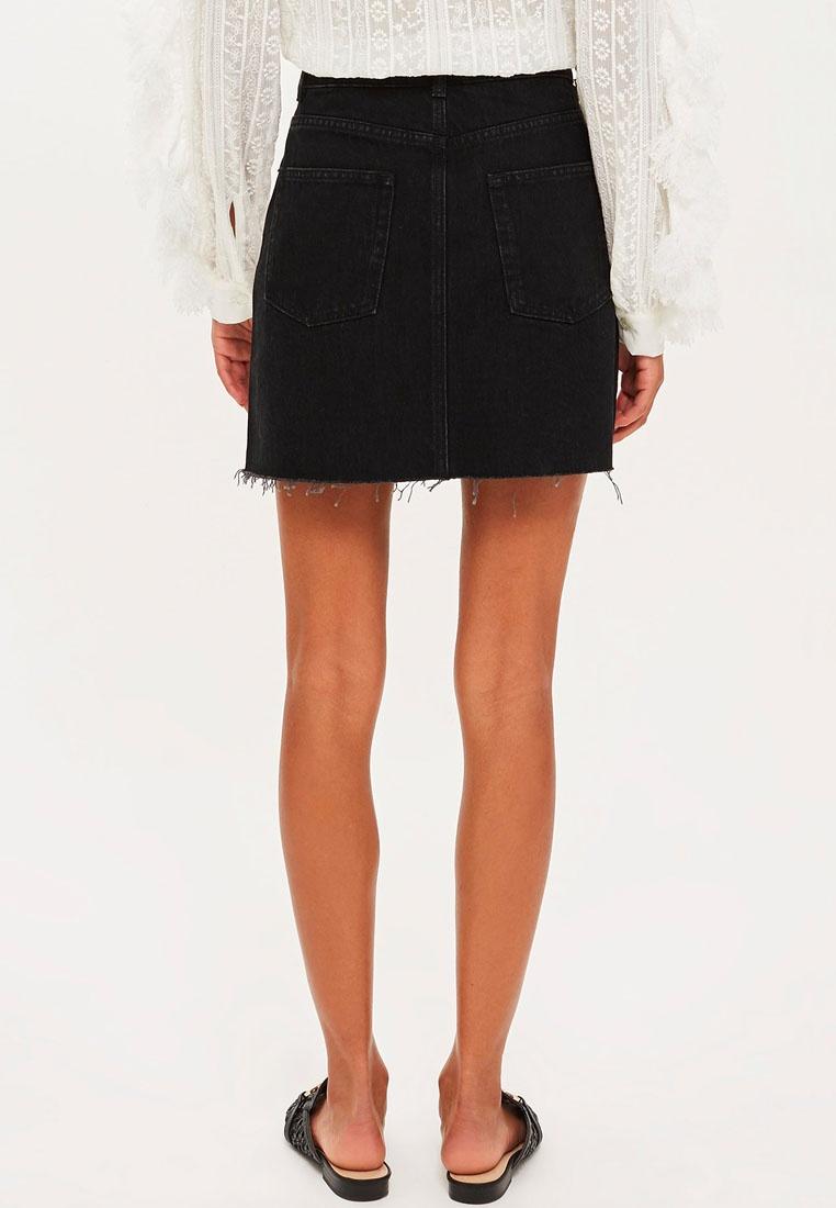 Washed Black Skirt Denim Stripe Leopard TOPSHOP 1wvFqY4q