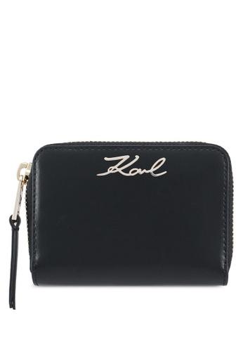 KARL LAGERFELD black K/signature sm zip wallet KA533AC0SDCGMY_1