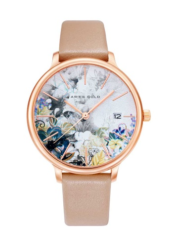 Aries Gold pink Aries Gold Enchant Fleur L 5035 Rose Gold and Pink Floral Watch F06B5AC5D03DFEGS_1