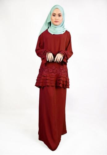 Denai Boutique red Baju Kurung Klara 56D85AAD29B520GS_1