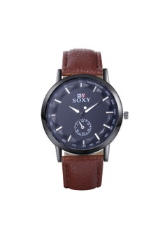 WH0040D Leisure Leather Strap Quartz Business Man Watch Stainless Steel Metal Round Dial