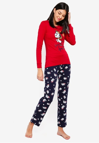 OVS red Red Pyjama Set With Snoopy Print 8DC45AAC17E4F7GS_1