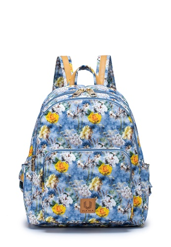 ULA ULA blue ULA ULA Blossom Morning Classical Backpack with Leather Trimmed Straps and RFID Pocket (RS1003) D5419ACEBA20F2GS_1