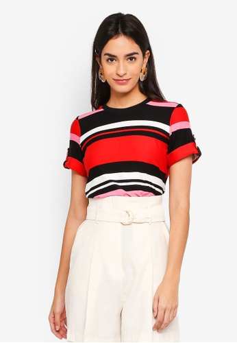 Dorothy Perkins multi Petite Stripe Cuff Tee B1DFBAA4653573GS_1