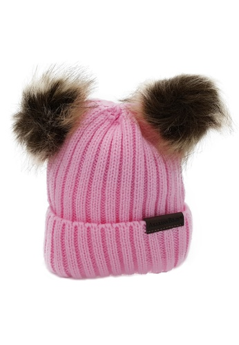 Akarana Baby pink and brown BABY BEANIE DOUBLE FAUX POM-POM (PINK) 2D94CKCD892B47GS_1