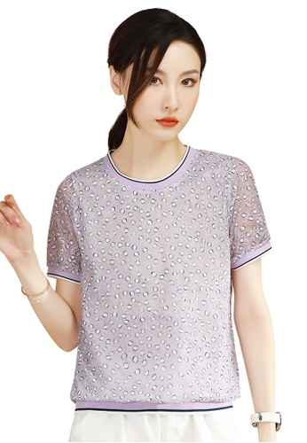 A-IN GIRLS purple Fashion Lace Cut-Out Blouse 874E0AA27C7D5AGS_1