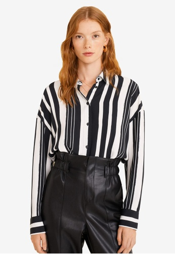 Mango black Stripe Print Shirt 580DDAAE2BD008GS_1