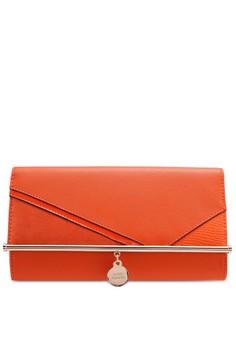【ZALORA】 Orange Bar Front Clutch