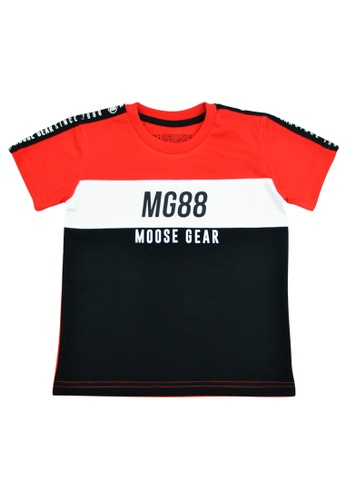 Moose Gear black and white and red Boys T-Shirt with Color Combi With Print 42B46KA732FE55GS_1