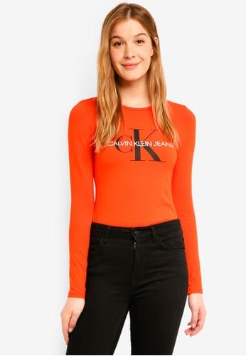 Calvin Klein red A-Monogram Logo Long Sleeve Tee - Calvin Klein Jeans 219C2AA0E41495GS_1
