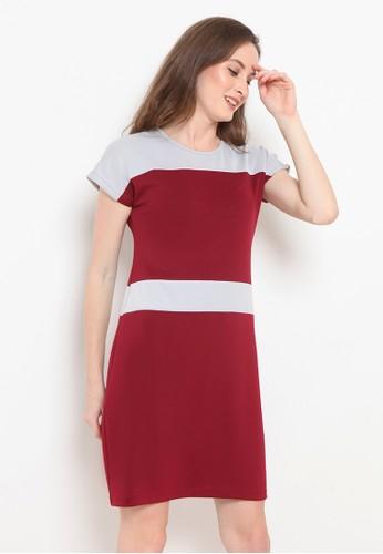 BASIC ONE red Basic One Dress Sofia Maroon Light Grey 24432AA2A6BBBFGS_1