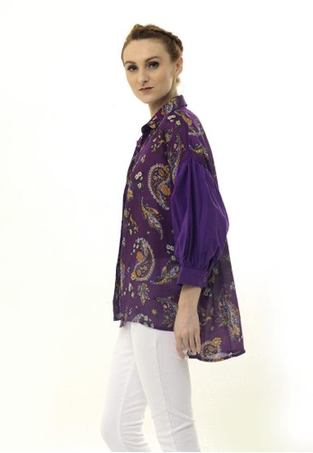 Beyounique purple Puffy Sleeve Paisley Blouse 472D8AADDA507FGS_1