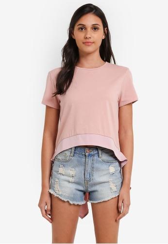 Something Borrowed pink Drape Detail Dip Hem Top 9900FAAC299275GS_1