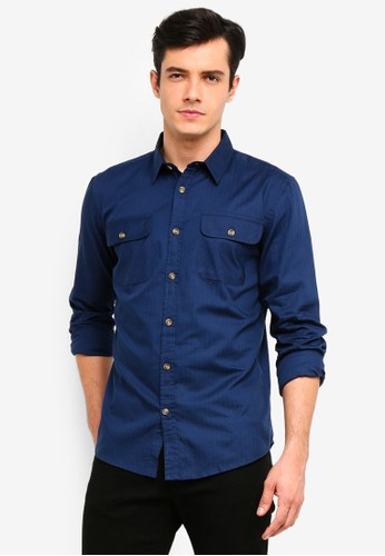 OVS blue Cotton Shirt With Pockets 5A31CAA9EB271FGS_1