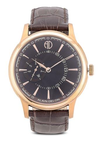 Alain Delon brown Alain Delon AD354-1542 Brown Leather Watch AL308AC0RBDFMY_1