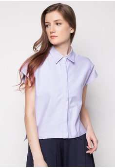 Chambray Cropped Polo Top