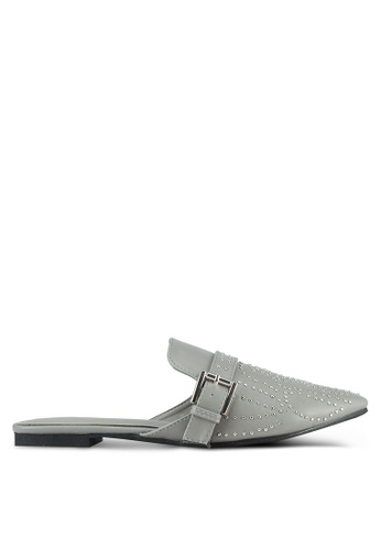 Nose grey Flat Princetown Studded Mules NO327SH0S6UHMY_1