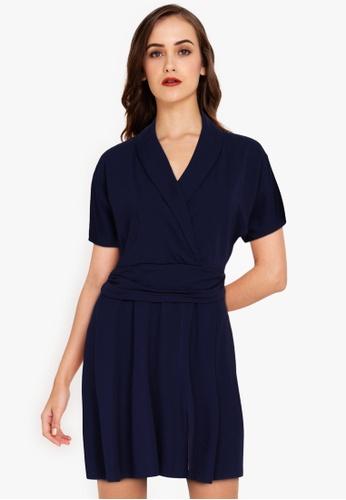ZALORA WORK navy Wrap Fit & Flare Dress 416F8AA014573DGS_1
