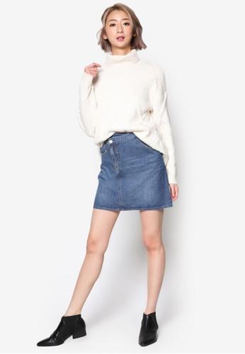 PLAY 不合錯誤稱裹飾丹寧短裙、 服飾、 裙子jucyjudyPLAY不合錯誤稱裹飾丹寧短裙最新折價