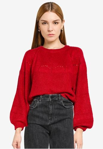 Mango red Openwork Knit Sweater 3080DAA6B44925GS_1