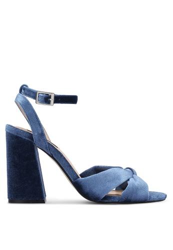 ZALORA blue Velvet Cross Strap Heels 2DDEFSHB1673A4GS_1