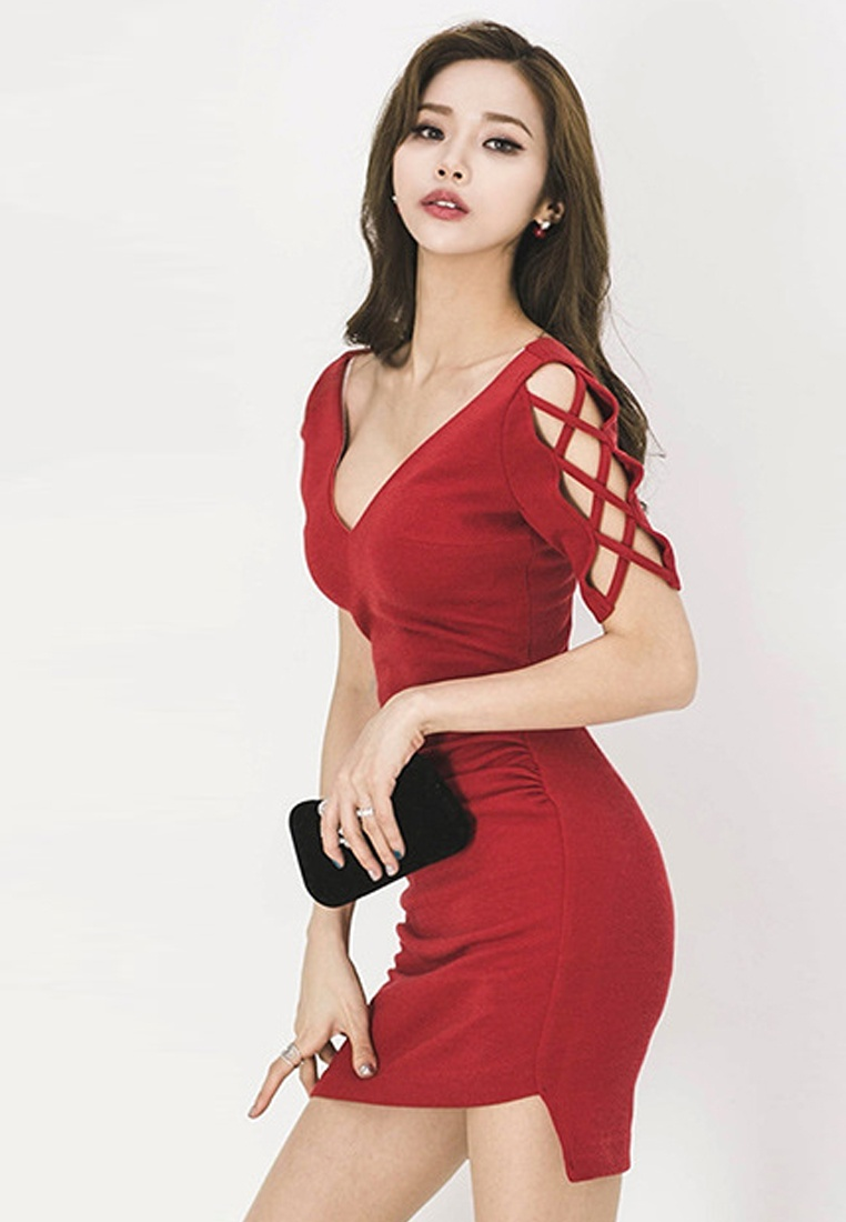 2018 New Sunnydaysweety UA061919 necked V Red Red Dress One Piece RCrRTxvq