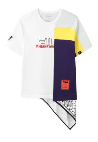 FILA white FILA x Maison MIHARA YASUHIRO Logo T-shirt With Asymmetric Silk Scarf Hem 9688CAA5D42B9AGS_1