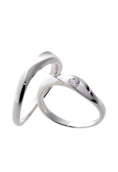 Wave Silver Couple Ring with Artificial Diamonds lr0025
