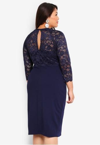 c88cb47af9 Buy Goddiva Plus Size Lace 3 4 Sleeve V Neck Bodycon Dress