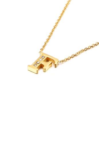 Glamorousky 白色 時尚個性鍍金色英文字母F 316L鋼吊墜配鋯石及項鏈 5BFCEACEEDC7C1GS_1