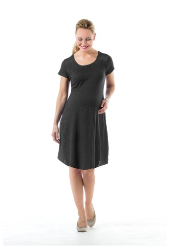 Bove by Spring Maternity grey Knitted Short Sleeves Cerulean Dress D.Grey LDN2401 BO010AA0FTICSG_1