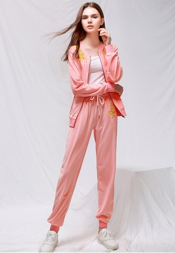 London Rag pink Pink Velour cuffed joggers with drawstring 1AC45AA110CA64GS_1