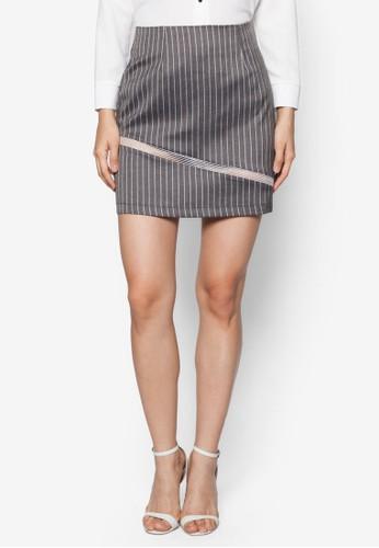 薄紗拼接條紋短裙, zalora鞋服飾, 迷你裙