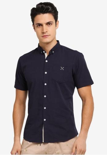 JAXON navy Seersucker Short Sleeves Shirt E974BAA66A6657GS_1