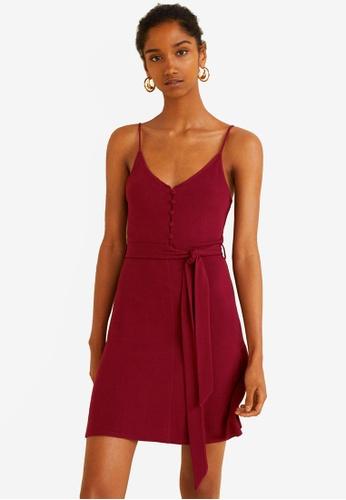 Mango red Button Knit Dress 625C1AA95923BCGS_1