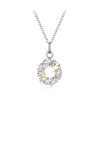 Glamorousky silver 925 Sterling Silver Fashion and Elegant Golden Butterfly Flower Circle Pendant with Necklace 72579ACA17B919GS_1