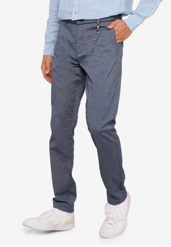 Springfield blue Textured Two Tone Chino Pants F3A7EAA4279ED9GS_1