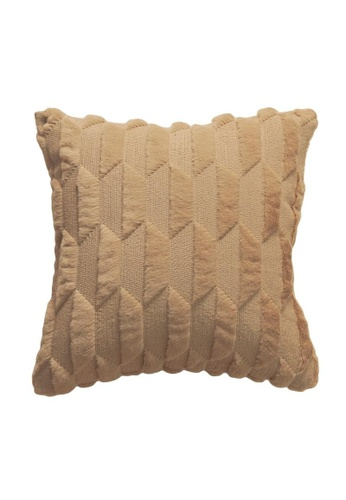 DILAS HOME brown Geometric Embossed Plush Cushion Cover (Brown) 6459AHL53AD0DBGS_1