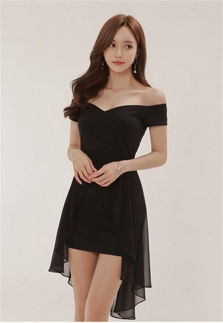 Chiffon Crystal Korea BLACK Dovetail Strapless Dress Fashion 80w4RPwZq