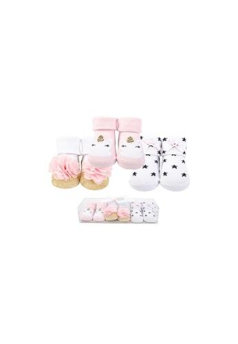 Little Kooma pink and gold Baby Girl Newborn Baby 3 Pairs Socks Set 58264 0ADC1KA4BA5969GS_1