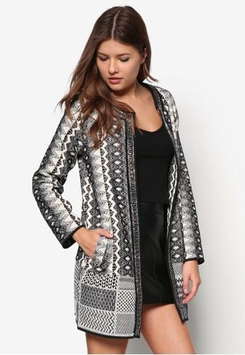 復古zalora 包包評價印花長版開襟外套, 服飾, 服飾