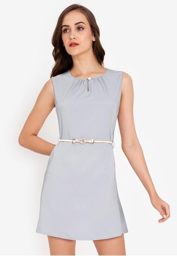 ZALORA WORK grey Keyhole Mini Dress With Belt CFEF0AA48431BCGS_1