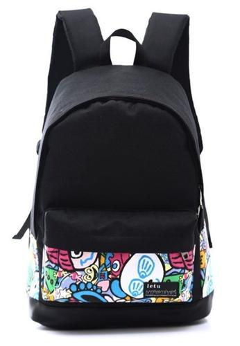 Jackbox black and multi Korean Fashion Blackie With Design School Bag Daypack Backpack 524 (Cartoon) JA762AC0S50XMY_1