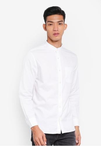 MANGO Man 白色 中山領襯衫 9AF3AAA382A48FGS_1