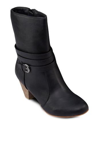 簡約仿皮中筒高跟靴, 女鞋, 靴esprit女裝子