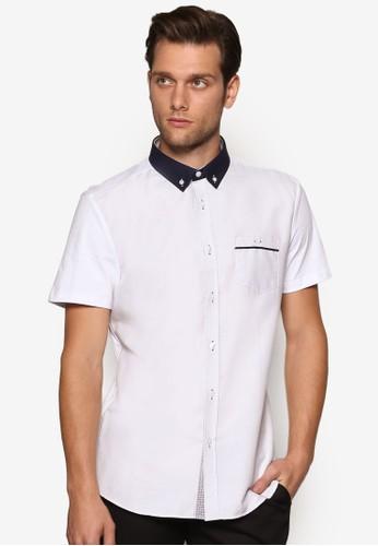撞色領短esprit hong kong袖襯衫, 服飾, 襯衫