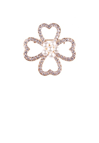 Glamorousky white Fashion and Simple Plated Gold Four-leafed Clover Imitation Pearl Brooch with Cubic Zirconia 5D4D0AC5339B26GS_1
