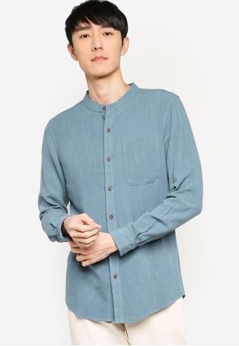 ZALORA BASICS blue Regular Grandad Collar Linen Blend Shirt E25DDAA76E3A93GS_1